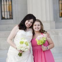 On my wedding day, May 20, 2012, with my new sister-in-law, who was adopted in our family-- a precious moment